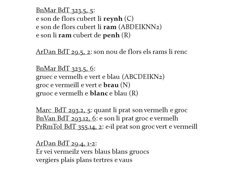 BnMar BdT 323.5, 5: e son de flors cubert li reynh (C) e son de flors cubert li ram (ABDEIKNN2) e son li ram cubert de penh (R) ArDan BdT 29.5, 2: son nou de flors els rams li renc BnMar BdT 323.5, 6: gruec e vermelh e vert e blau (ABCDEIKN2) groc e vermeill e vert e brau (N) gruoc e vermelh e blanc e blau (R) Marc BdT 293.2, 5: quant li prat son vermelh e groc BnVan BdT 293.12, 6: e son li prat groc e vermelh PrRmTol BdT 355.14, 2: e·il prat son groc vert e vermeill ArDan BdT 29.4, 1-2: Er vei vermeilz vers blaus blans gruocs vergiers plais plans tertres e vaus