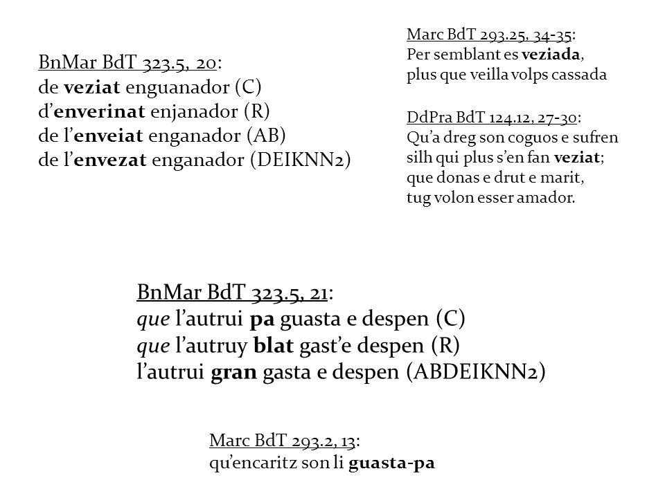 BnMar BdT 323.5, 20: de veziat enguanador (C) denverinat enjanador (R) de lenveiat enganador (AB) de lenvezat enganador (DEIKNN2) Marc BdT 293.25, 34-