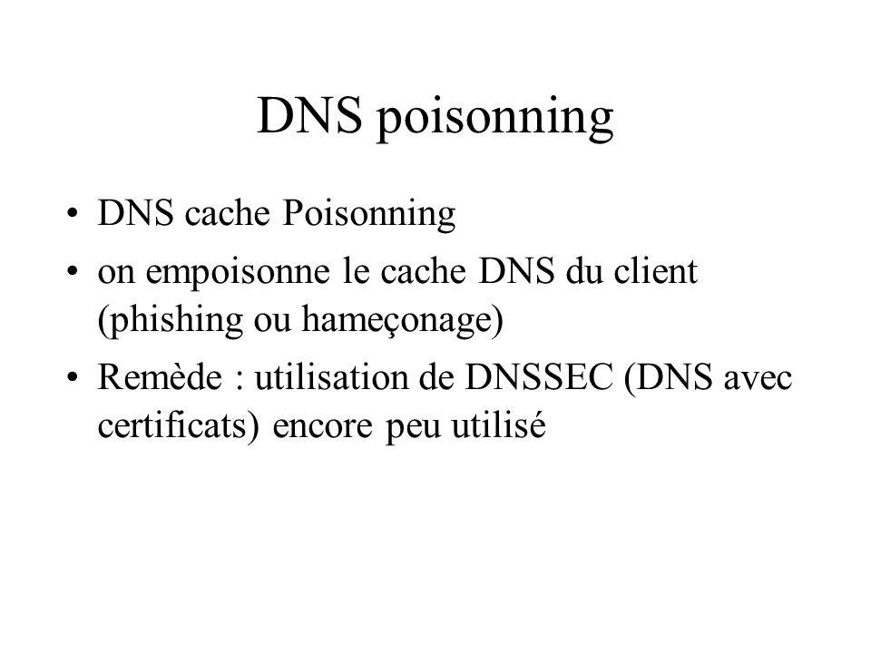 DNS poisonning DNS cache Poisonning on empoisonne le cache DNS du client (phishing ou hameçonage) Remède : utilisation de DNSSEC (DNS avec certificats) encore peu utilisé