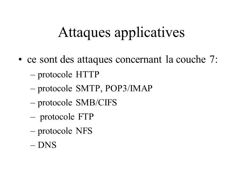 Attaques applicatives ce sont des attaques concernant la couche 7: –protocole HTTP –protocole SMTP, POP3/IMAP –protocole SMB/CIFS – protocole FTP –protocole NFS –DNS