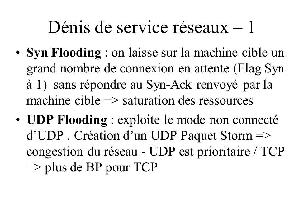 Dénis de service réseaux – 1 Syn Flooding : on laisse sur la machine cible un grand nombre de connexion en attente (Flag Syn à 1) sans répondre au Syn-Ack renvoyé par la machine cible => saturation des ressources UDP Flooding : exploite le mode non connecté dUDP.