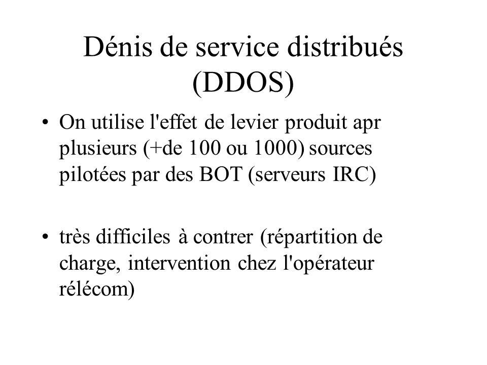 Dénis de service distribués (DDOS) On utilise l effet de levier produit apr plusieurs (+de 100 ou 1000) sources pilotées par des BOT (serveurs IRC) très difficiles à contrer (répartition de charge, intervention chez l opérateur rélécom)