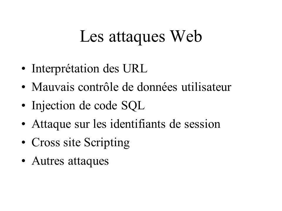 Les attaques Web Interprétation des URL Mauvais contrôle de données utilisateur Injection de code SQL Attaque sur les identifiants de session Cross site Scripting Autres attaques