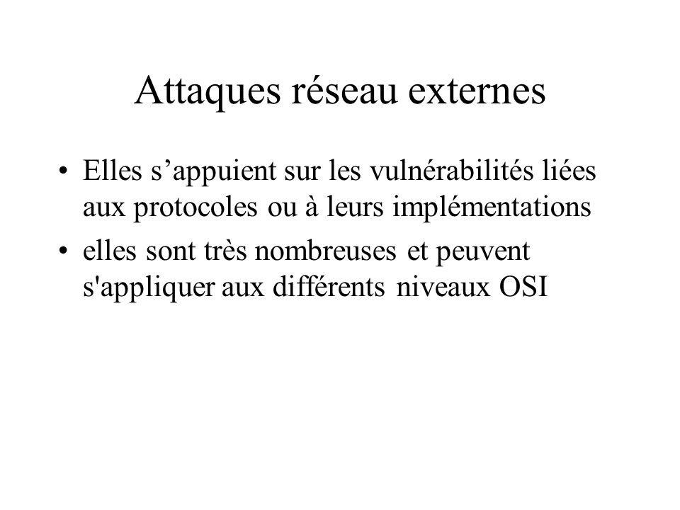 Attaques réseau externes Elles sappuient sur les vulnérabilités liées aux protocoles ou à leurs implémentations elles sont très nombreuses et peuvent s appliquer aux différents niveaux OSI