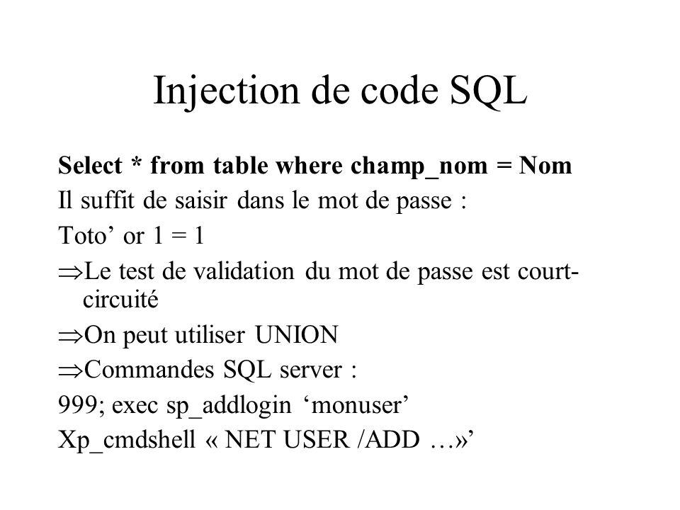 Injection de code SQL Select * from table where champ_nom = Nom Il suffit de saisir dans le mot de passe : Toto or 1 = 1 Le test de validation du mot de passe est court- circuité On peut utiliser UNION Commandes SQL server : 999; exec sp_addlogin monuser Xp_cmdshell « NET USER /ADD …»