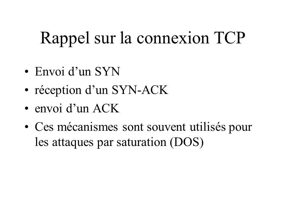 Rappel sur la connexion TCP Envoi dun SYN réception dun SYN-ACK envoi dun ACK Ces mécanismes sont souvent utilisés pour les attaques par saturation (DOS)