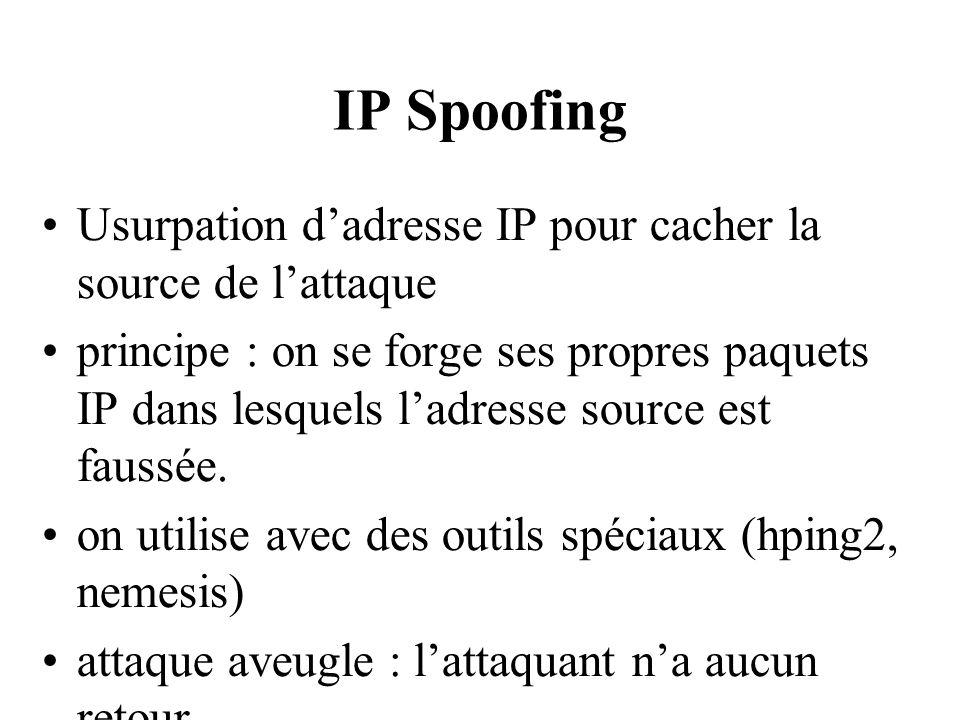 TCP Session Hikacking on usurpe une connexion TCP en forgeant des N° de sessions adaptés au contexte (simulation de la pile TCP/IP)