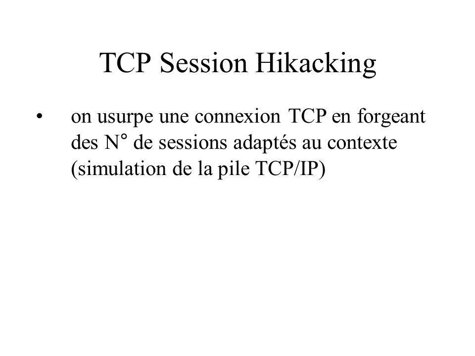 ARP Spoofing usurpation ARP avec des paquets forgés => attaque classique MIM (Man in the Midle) on se fait passer pour une autre machine avec des paquets ARP gratuits