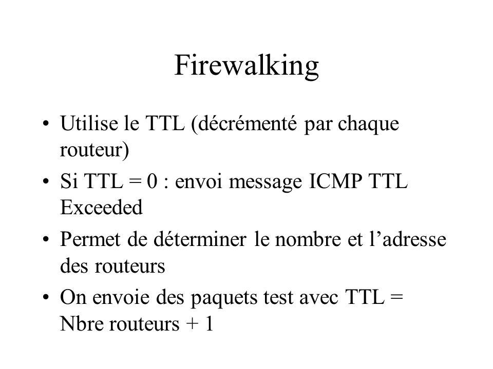 Firewalking Utilise le TTL (décrémenté par chaque routeur) Si TTL = 0 : envoi message ICMP TTL Exceeded Permet de déterminer le nombre et ladresse des routeurs On envoie des paquets test avec TTL = Nbre routeurs + 1