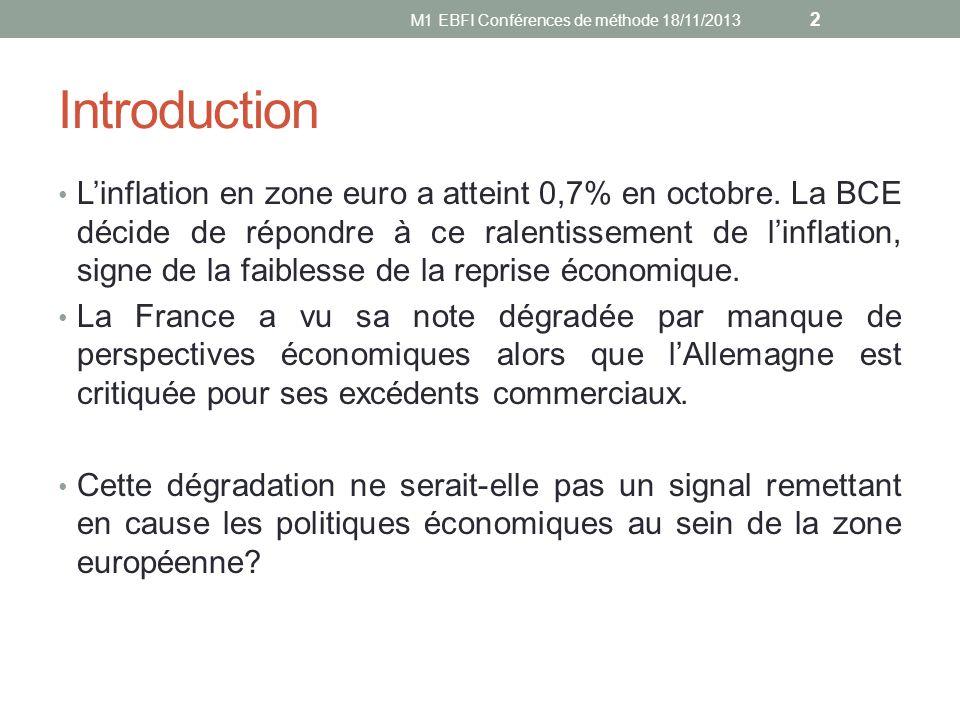 Sources Standard & Poors dégrade la note de la France http://lexpansion.lexpress.fr/economie/la-degradation-de-la-note- de-la-france-par-standard-and-poor-s-est-elle- justifiee_413672.html http://economia.elpais.com/economia/2013/11/08/actualidad/138 3898831_006283.html http://www.lesechos.fr/economie- politique/politique/actu/0203115645485-degradation-de-la-note- de-la-france-cope-appelle-hollande-a-prendre-ses- responsabilites-627412.php http://www.lepoint.fr/economie/note-de-la-france-moscovici- deplore-la-decision-de-standard-poor-s-08-11-2013- 1753461_28.php Journal Le Monde du 09/11/13 Journal Le Figaro du 09/11/13 13 M1 EBFI Conférences de méthode 18/11/2013