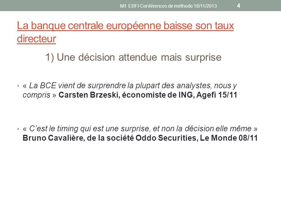 La banque centrale européenne baisse son taux directeur 1) Une décision attendue mais surprise « La BCE vient de surprendre la plupart des analystes,
