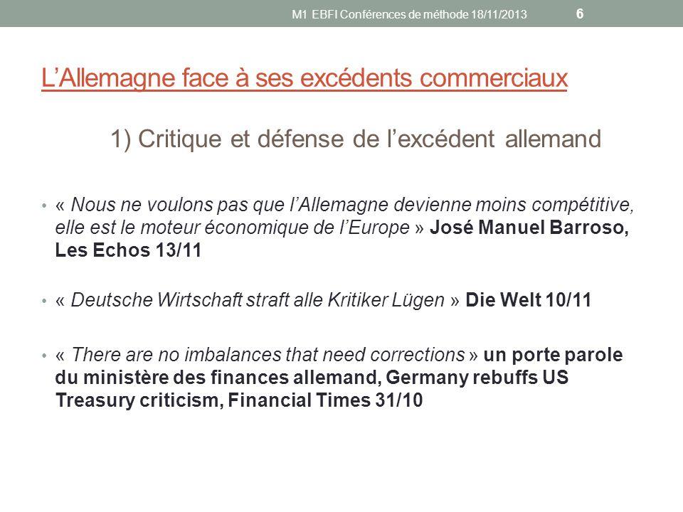 LAllemagne face à ses excédents commerciaux 1) Critique et défense de lexcédent allemand « Nous ne voulons pas que lAllemagne devienne moins compétiti