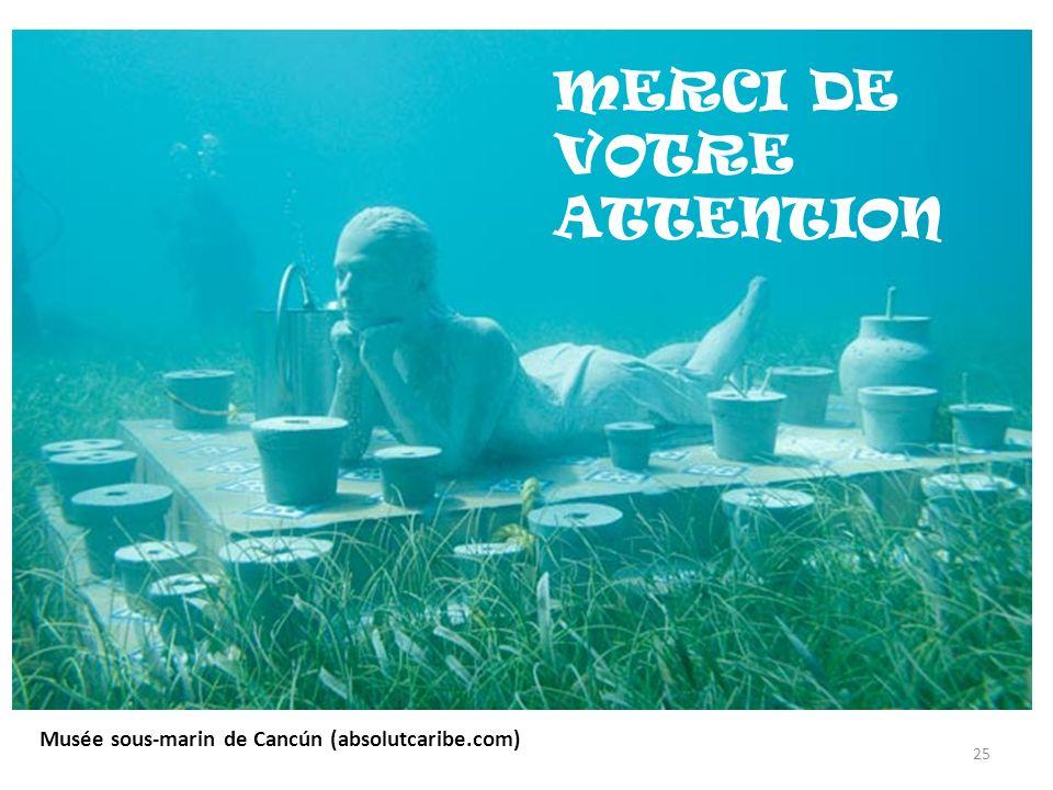 MERCI DE VOTRE ATTENTION Musée sous-marin de Cancún (absolutcaribe.com) 25