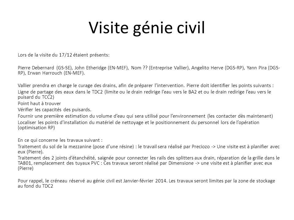 Visite génie civil Lors de la visite du 17/12 étaient présents: Pierre Debernard (GS-SE), John Etheridge (EN-MEF), Nom ?? (Entreprise Vallier), Angeli