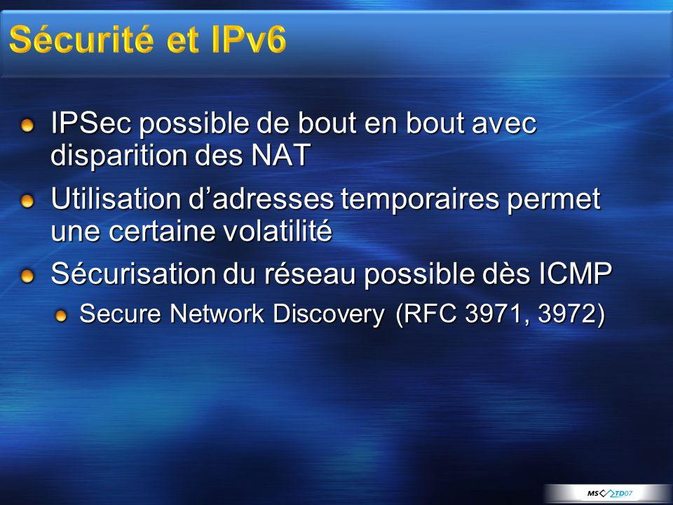 IPSec possible de bout en bout avec disparition des NAT Utilisation dadresses temporaires permet une certaine volatilité Sécurisation du réseau possib