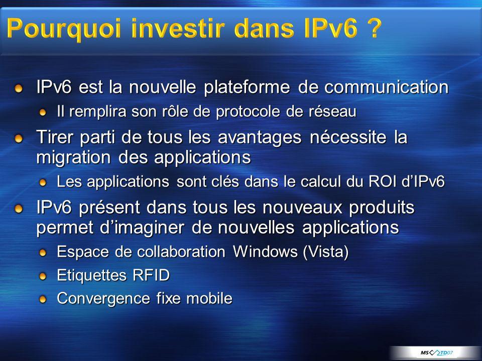 IPv6 est la nouvelle plateforme de communication Il remplira son rôle de protocole de réseau Tirer parti de tous les avantages nécessite la migration