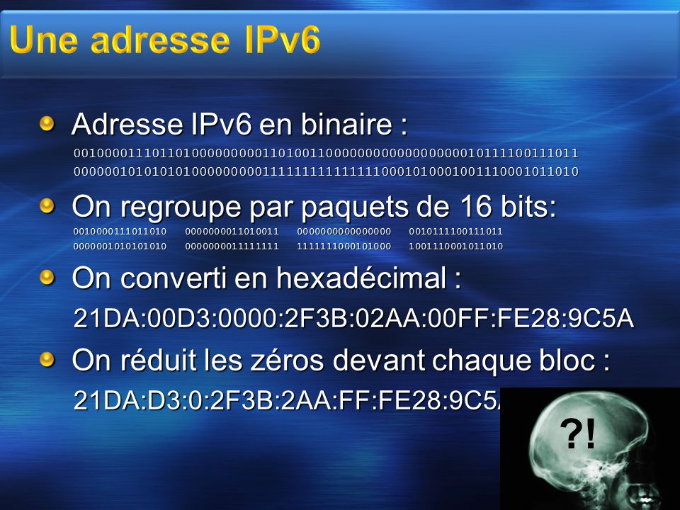 Adresse IPv6 en binaire : 0010000111011010000000001101001100000000000000000010111100111011000000101010101000000000111111111111111000101000100111000101