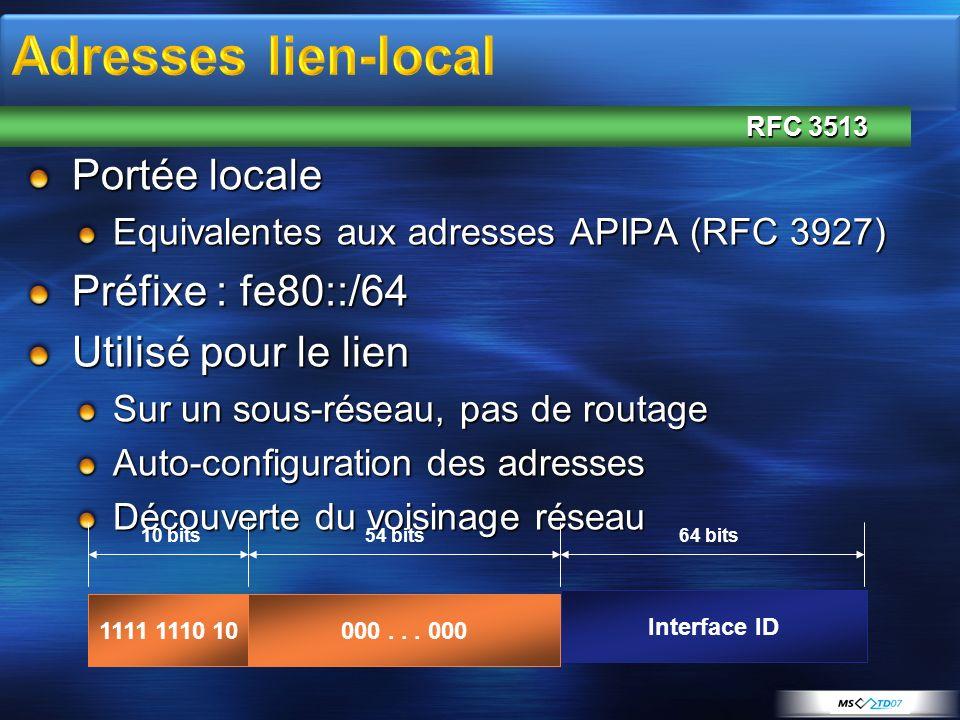 Portée locale Equivalentes aux adresses APIPA (RFC 3927) Préfixe : fe80::/64 Utilisé pour le lien Sur un sous-réseau, pas de routage Auto-configuratio
