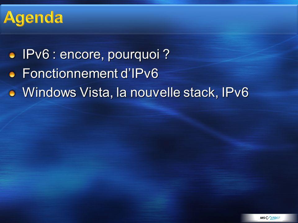 IPv6 : encore, pourquoi ? Fonctionnement dIPv6 Windows Vista, la nouvelle stack, IPv6