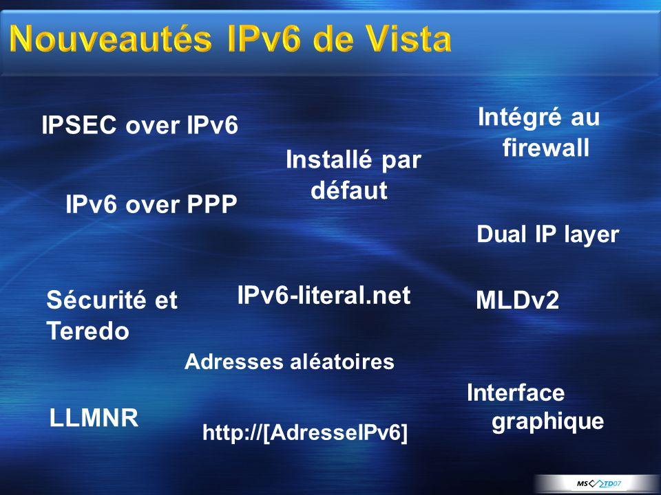 IPSEC over IPv6 IPv6 over PPP Sécurité et Teredo Intégré au firewall IPv6-literal.net LLMNR http://[AdresseIPv6] Interface graphique Dual IP layer MLD
