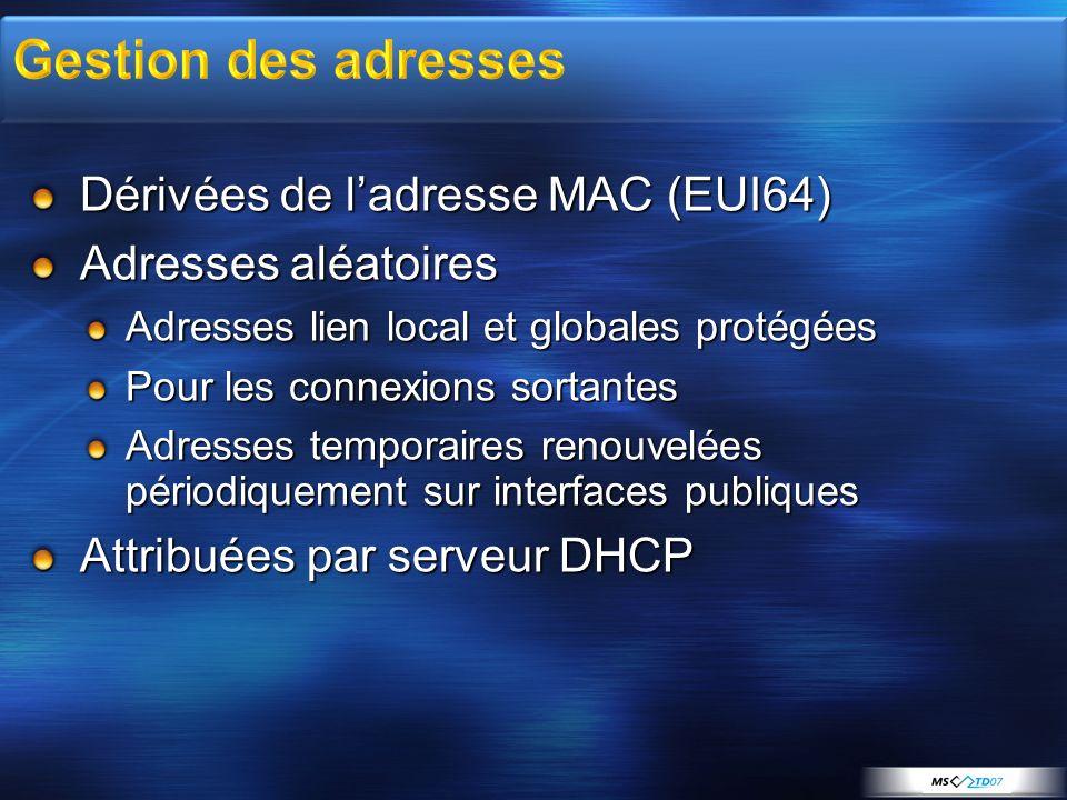 Dérivées de ladresse MAC (EUI64) Adresses aléatoires Adresses lien local et globales protégées Pour les connexions sortantes Adresses temporaires reno