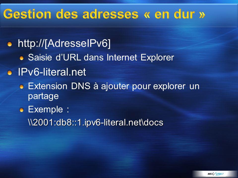 http://[AdresseIPv6] Saisie dURL dans Internet Explorer IPv6-literal.net Extension DNS à ajouter pour explorer un partage Exemple :\\2001:db8::1.ipv6-