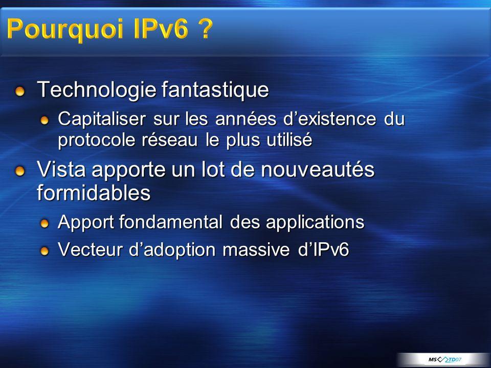 IPSEC over IPv6 IPv6 over PPP Sécurité et Teredo Intégré au firewall IPv6-literal.net LLMNR http://[AdresseIPv6] Interface graphique Dual IP layer MLDv2 Installé par défaut Adresses aléatoires