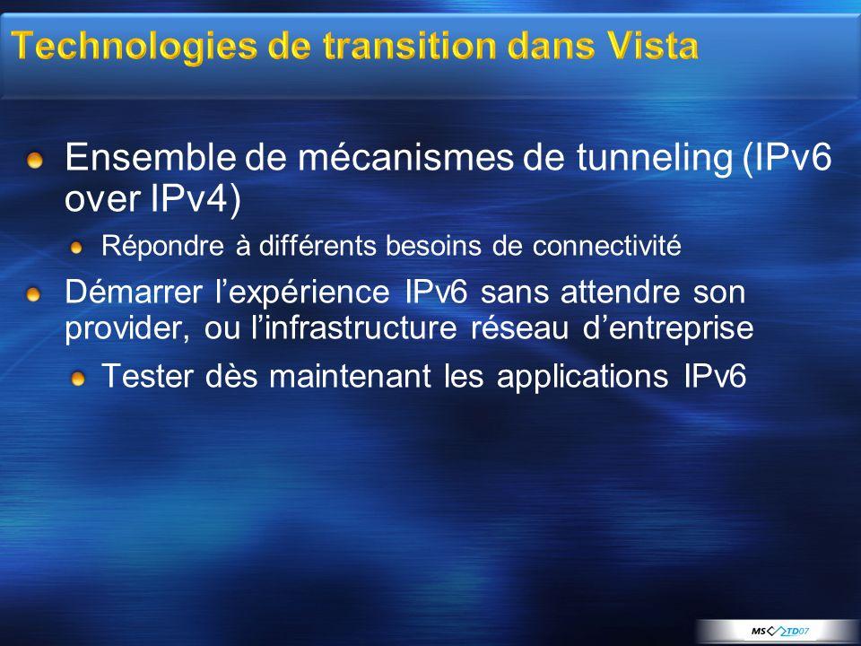 Ensemble de mécanismes de tunneling (IPv6 over IPv4) Répondre à différents besoins de connectivité Démarrer lexpérience IPv6 sans attendre son provide