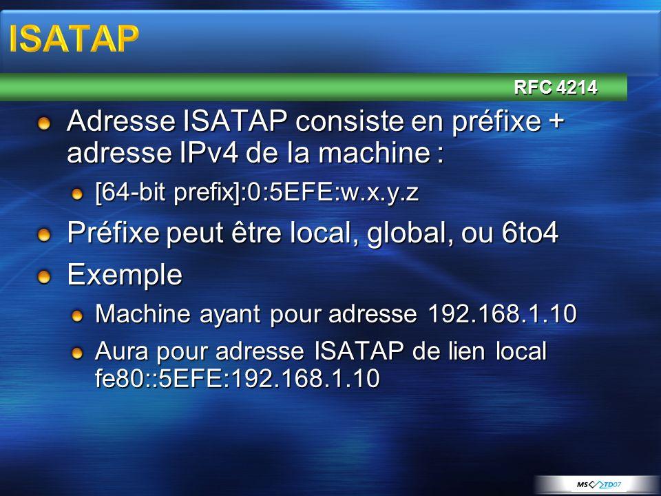 Adresse ISATAP consiste en préfixe + adresse IPv4 de la machine : [64-bit prefix]:0:5EFE:w.x.y.z Préfixe peut être local, global, ou 6to4 Exemple Mach