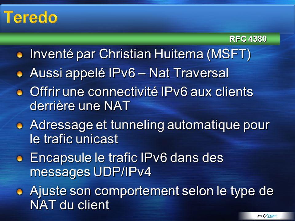 RFC 4380 Inventé par Christian Huitema (MSFT) Aussi appelé IPv6 – Nat Traversal Offrir une connectivité IPv6 aux clients derrière une NAT Adressage et