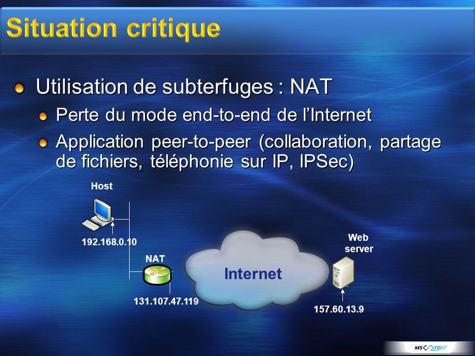 IPv6 est installé par défaut sous Vista Tous les composants sont contrôlables par clé de registre : HKLM\SYSTEM\CurrentControlSet\Services\tcpip6\Parameters\DisabledComponents Fonction Valeur de DisabledComponents Désactiver tous types de tunnels0x1 Désactiver 6to40x2 Désactiver ISATAP0x4 Désactiver Teredo0x8 Désactiver Teredo et 6to40xA Désactiver sur le LAN et interfaces PPP0x10 Désactiver sur le LAN, PPP, et tunnels0x11 Préférer IPv4 à IPv60x20 Désactiver IPv6 sur toutes les interfaces et préferer IPv4 à IPv6 0xFF