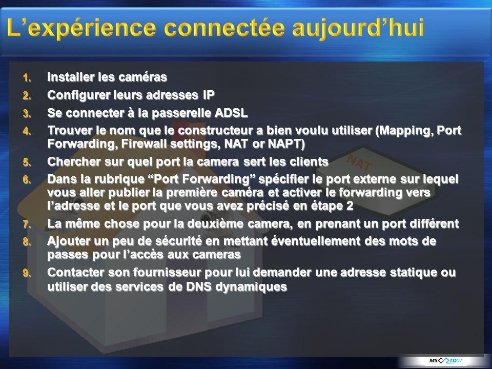 NAT 1. Installer les caméras 2. Configurer leurs adresses IP 3. Se connecter à la passerelle ADSL 4. Trouver le nom que le constructeur a bien voulu u