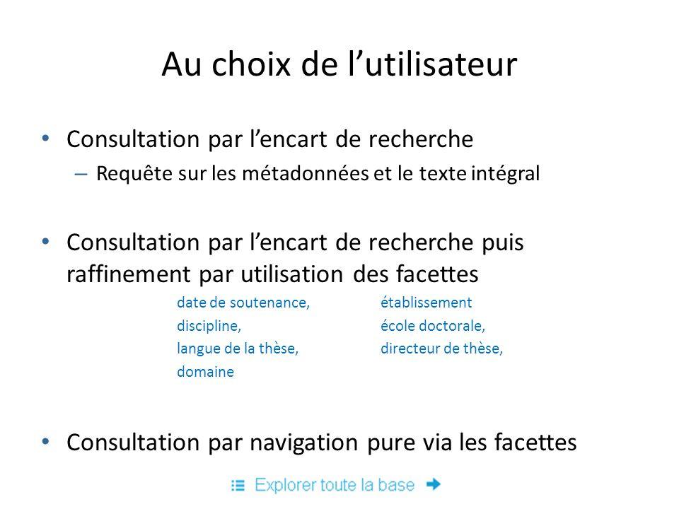 Au choix de lutilisateur Consultation par lencart de recherche – Requête sur les métadonnées et le texte intégral Consultation par lencart de recherch