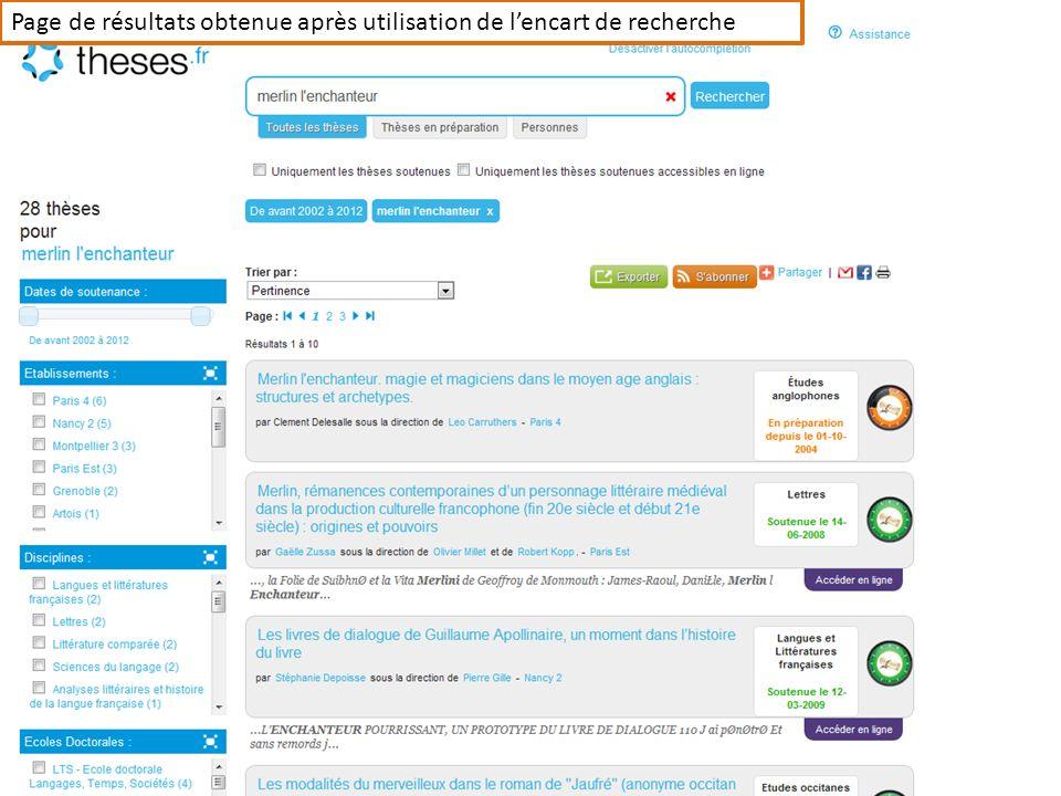 Page de résultats obtenue après utilisation de lencart de recherche