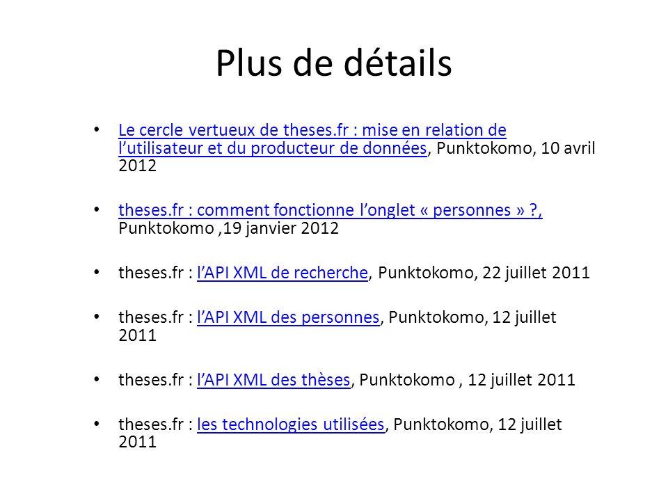 Plus de détails Le cercle vertueux de theses.fr : mise en relation de lutilisateur et du producteur de données, Punktokomo, 10 avril 2012 Le cercle ve