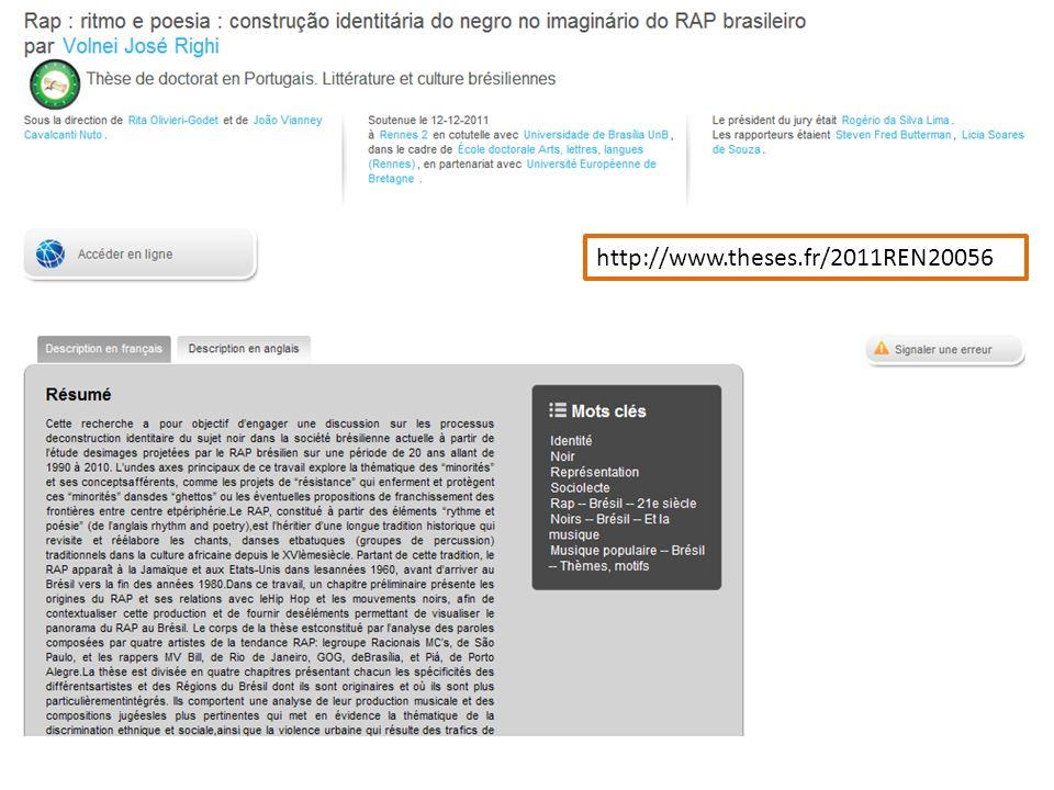 Page de la thèse en préparation obtenue en cliquant sur le titre