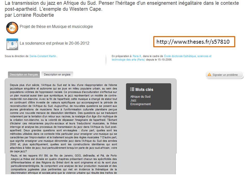 Les pages de thèses soutenues Les pages de thèses en préparation sous réserve dun lien IdRef-autorités Sudoc, – Les pages de personnes – Les pages dorganismes Les pages « finales » http://www.theses.fr/2011REN20056 http://www.theses.fr/s57810 http://www.theses.fr/154887528
