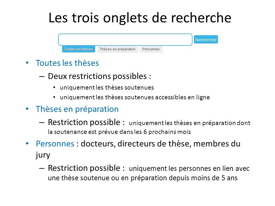 Les trois onglets de recherche Toutes les thèses – Deux restrictions possibles : uniquement les thèses soutenues uniquement les thèses soutenues acces