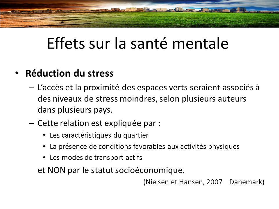 Effets sur la santé mentale Réduction du stress – Laccès et la proximité des espaces verts seraient associés à des niveaux de stress moindres, selon plusieurs auteurs dans plusieurs pays.