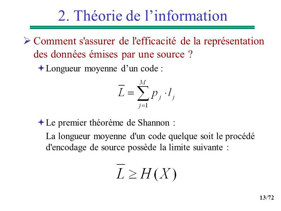 13/72 2. Théorie de linformation Comment s'assurer de l'efficacité de la représentation des données émises par une source ? Longueur moyenne dun code