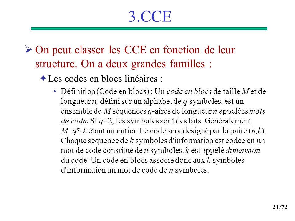 21/72 3.CCE On peut classer les CCE en fonction de leur structure. On a deux grandes familles : Les codes en blocs linéaires : Définition (Code en blo