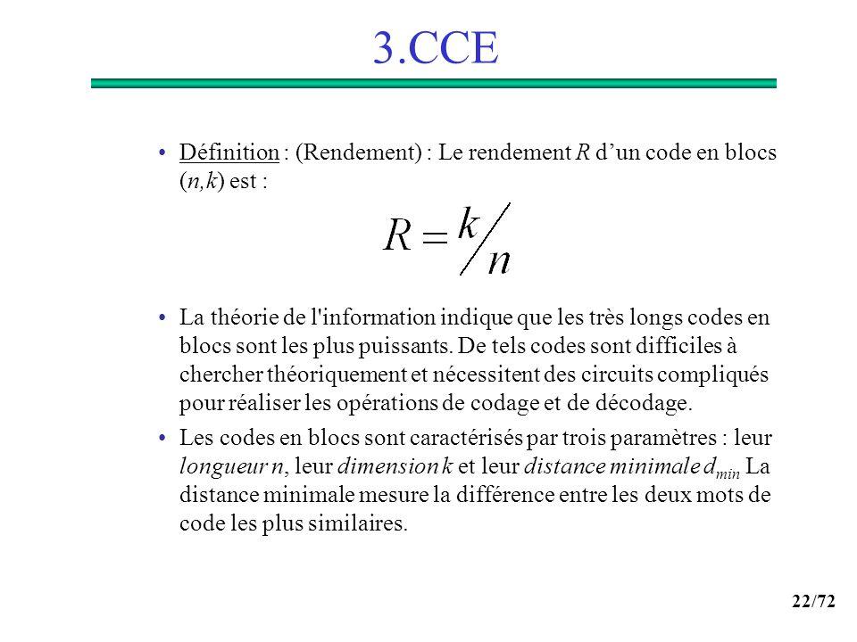22/72 3.CCE Définition : (Rendement) : Le rendement R dun code en blocs (n,k) est : La théorie de l'information indique que les très longs codes en bl