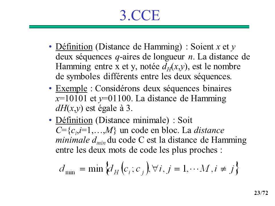 23/72 3.CCE Définition (Distance de Hamming) : Soient x et y deux séquences q-aires de longueur n. La distance de Hamming entre x et y, notée d H (x,y