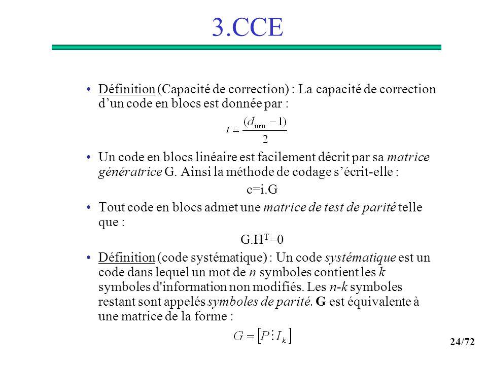 24/72 3.CCE Définition (Capacité de correction) : La capacité de correction dun code en blocs est donnée par : Un code en blocs linéaire est facilemen