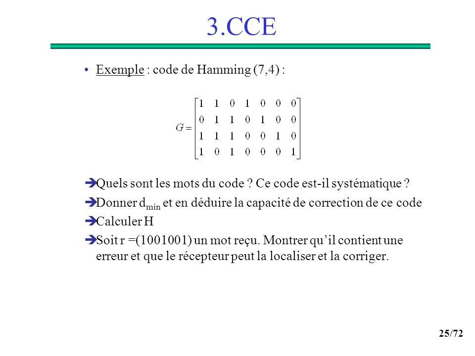 25/72 3.CCE Exemple : code de Hamming (7,4) : Quels sont les mots du code ? Ce code est-il systématique ? Donner d min et en déduire la capacité de co