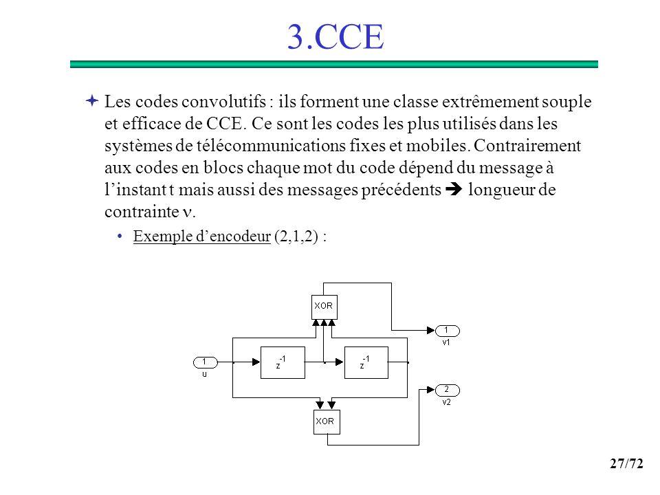 27/72 3.CCE Les codes convolutifs : ils forment une classe extrêmement souple et efficace de CCE. Ce sont les codes les plus utilisés dans les système
