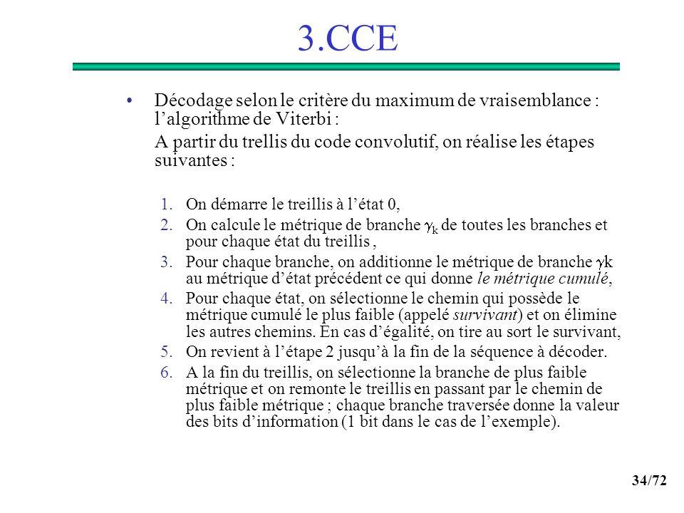34/72 3.CCE Décodage selon le critère du maximum de vraisemblance : lalgorithme de Viterbi : A partir du trellis du code convolutif, on réalise les ét