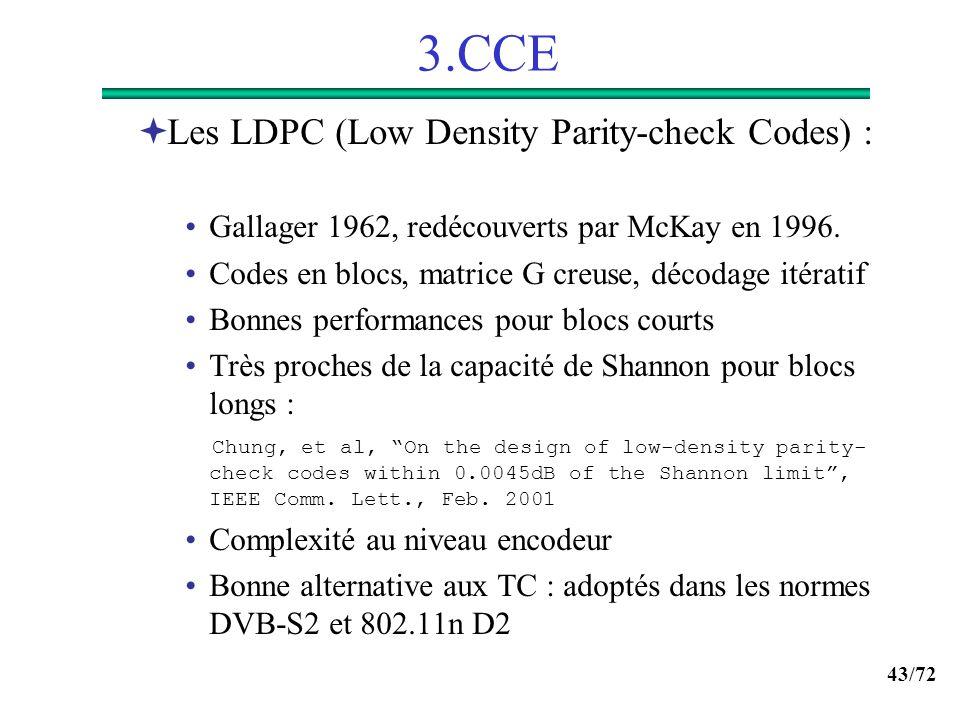 43/72 3.CCE Les LDPC (Low Density Parity-check Codes) : Gallager 1962, redécouverts par McKay en 1996. Codes en blocs, matrice G creuse, décodage itér