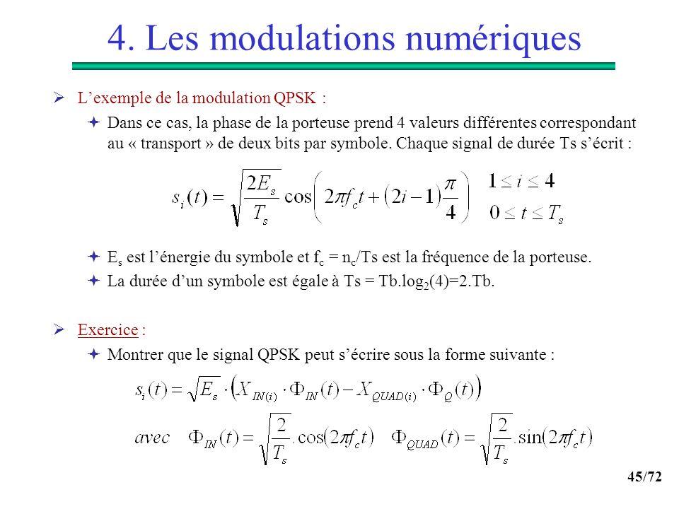 45/72 4. Les modulations numériques Lexemple de la modulation QPSK : Dans ce cas, la phase de la porteuse prend 4 valeurs différentes correspondant au