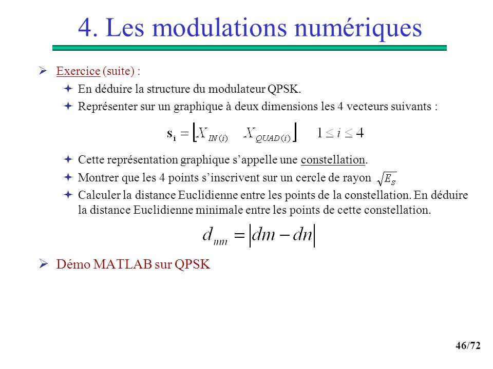 46/72 4. Les modulations numériques Exercice (suite) : En déduire la structure du modulateur QPSK. Représenter sur un graphique à deux dimensions les